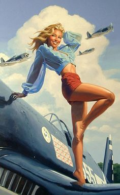 World War II: War pin-up art included provocative posters such as these as means of advertising for recruitment and war bond sales.