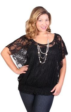 4bb071d8f19 plus size all over lace flutter sleeve top with necklace Flutter Sleeve Top