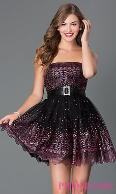 Short Strapless Tulle Alyce Babydoll Dress AL-3510 at PromGirl.com