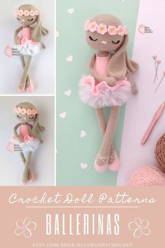 Ballerina Crochet Bunny Doll Pattern, Amigurumi Rabbit Doll with Tutu and Flowers Pattern, Bailarna Conejita Patron Bonnie Bunny from the series of Ballerinas, Amigurumi Crochet Patterns. This is a DOWNLOADABLE TUTORIAL. Written in English.