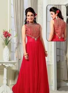 Designer Indian gown for party wear in Fuchsia Pink
