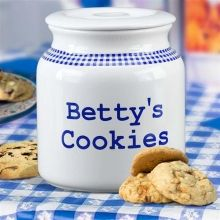 Personalized Blue Gingham One Gallon Cookie Jars. Holds One Gallon of Cookies! Our classic blue  white font can't say it any better. Commemorate your favorite cookie baker with a fun personalization like Karen's Homemade Cookies, Bobbie's Store Bought Cookies or Charlie's Cookies. The silicone seal keeps cookies just baked fresh until the last crumb. The silicone gasket is permanently attached to the lid so please hand wash the lid. The jar can be washed in