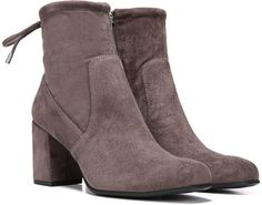"""FRANCO SARTO Pisces Suede Ankle Boots in Taupe  Simple and sleek boots with an adjustable ankle Block heel, 3"""" Suede upper Round toe Pull-on design Synthetic lining and sole"""