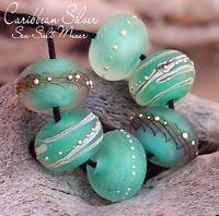 Caribbean Sea Salt Silver Rounds (6) Lampwork Beads Handmade SRA A15