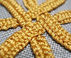 Plaited Braid Stitch - embroidered knotwork intersection