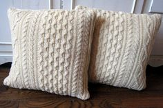 Cream Colored Cable Knit Sweater Pillow Covers by SewingbyJenn, $30.00