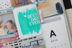 Project LIFE idea: add letter stickers to a blank card, paint over it and remove stickers. She also used this idea on a blank divider to welcome summer! Supper cute and easy