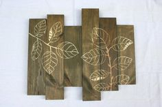 Rustic Wood Wall Hanging  Hand Carved Leaf Design by SoftIndustry