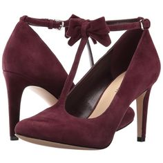 Nine West Hollison (Wine Suede) High Heels (120 CAD) ❤ liked on Polyvore featuring shoes, pumps, high heel pumps, bow shoes, nine west, rounded toe pumps and high heeled footwear