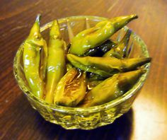 Simple recipe for marinated green chili peppers. #appetizersrecipes #appetizers #chilipeppers #chilipeppersrecipes