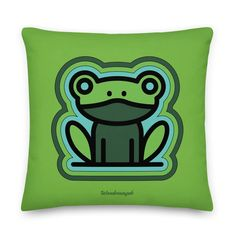 Kissen • frecher Frosch – grün • Design Creative, Fictional Characters, Design, Peace Dove, Unique Gifts, Kid Games, Pillows, Kunst