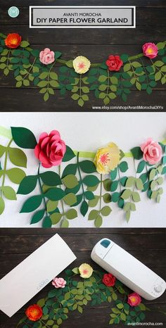 Paper flower garlands – Diy garland paper – Construction paper flowers – Flower garland diy – P Paper Flower Garlands, Paper Flowers Craft, Large Paper Flowers, Crepe Paper Flowers, Flower Crafts, Diy Flowers, Flower Paper, Flower Diy, How To Make Paper Flowers