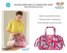 #Babybag and changing mat from Kimono collection by #TucTuc.  Shop now at: www.kidsandchic.com/floral-baby-bag-and-changing-mat-tuc-tuc-kimono.html  #baby #babygift #shoppingbarcelona #bebe #regalobebe #niña #babygirl #babyshowergift #stroller