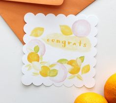 Watercolor Fruit Congrats Card – Kori Clark  It can feel like summer year round with this fresh watercolor Congratulations Card design with scalloped edges!  DIY, created with a Cricut Explore, creative cards, crafting, crafts