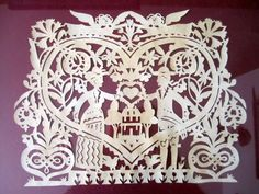 Vintage Framed Heart and Happy Couple Papercut Scherenschnitte Wedding Housewarming Gift Original paper Art~ English Garden Paper Cut