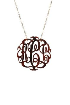 Medium Acrylic Monogram Necklace in Script Font (23 Colors Available)...from Southern Jewelry Auctions on Facebook!
