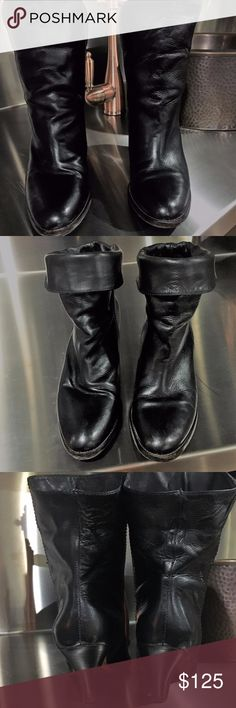 Frye mid calf or fold down black boots SZ 7.5M Frye Mid Calf or can fold down boots are 7.5.  They have been well loved and have tons of life in them.  They are two styles in one.  You can wear over skinny jean with the mid calf look, wear under jeans as a regular boot look or fold down and wear as a bootie look.  I got these from my cousin, her foot is bigger than mine.  I really would have loved to keep these.  Make an offer. Frye Shoes Heeled Boots