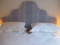 Bespoke bedhead; London flat; London bedroom; Blue & white; Tissus d'helene…