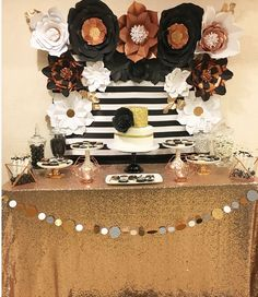 Great Gatsby Black And White Paper Flowers Party Rose Gold