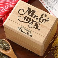 LOVE this! Personalized Recipe Box that you can engrave with any name ... GREAT wedding gift idea! #MrandMrs #WeddingGift #Recipe