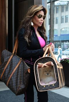 LaToya Jackson carries her dog in a Louis Vuitton Dog Carrier. Valija Louis Vuitton, Louis Vuitton Pet Carrier, Small Dog Accessories, Dog Accesories, Dog Carrier Purse, Dog Purse, Yorkie Terrier, Pet Bag, Crop Top Outfits