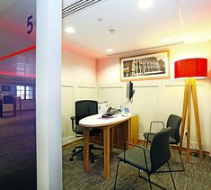 We worked with RBS to fit out their flagship Moorgate branch. Retail Bank, Red Lamp Shade, Office Fit Out, Meeting Rooms, Carpet Colors, Tripod Lamp, Be Perfect, Carpets, Corner Desk