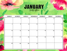 January 2018 calendar free printable