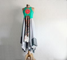 Image of Womens Hippie Dress Upcycled Clothes Lagenlook Clothing Bohemian Chic Long Festival Dress M
