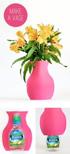 How to Make a Salad Dressing Bottle into a Vase at PagingSupermom.com #recycledcraft #DIYvase #spring #mothersday