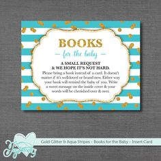 INSTANT DOWNLOAD! Gold Glitter and Aqua Stripes - Books For The Baby - Baby Shower Insert Card by Joytations on Etsy. Print at home or at a local print shop! Visit my Etsy shop for details.