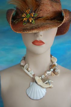 Stunning Mermaid and Shell Necklace by WhateverJewelry on Etsy, $325.00