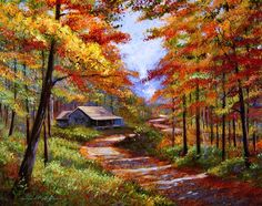 Cabin In The Woods Painting - Cabin In The Woods Fine Art Print