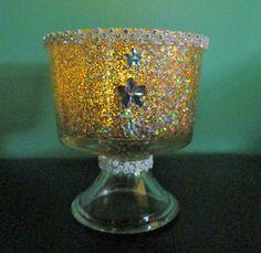 Wedding Glittered Sparkle Candle Holders/  by CreativeGlassByBecky