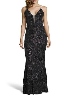 c23e9f792c51c Betsy & Adam Long Sleeveless Sequin Gown