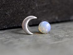 Sterling Crescent Moon and genuine vintage fire opal stud earrings. Dainty earrings for her. Bridal earrings, bridesmaid.
