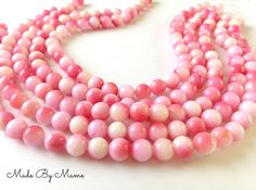 Big Round Bubblegum Pink Agate 10mm Pink and White by MadeByMame