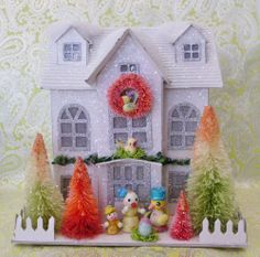 Vintage Easter Putz House w/ Easter Chick Family Bottle Brush Trees Birds LARGE