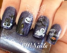 Cute Halloween Nails, Halloween Acrylic Nails, Halloween Nail Designs, Clear Nail Polish, Best Nail Polish, Nail Polish Colors, Scary Nails, Patrick Nagel, Nail Water Decals