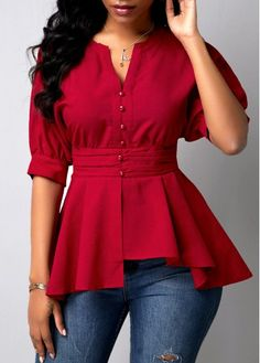 Women'S Wine Red Peplum Waist Half Sleeve Button Detail Holiday Blouse Burgundy Solid Color Casual Top By Rosewe Button Detail Wine Red Peplum Waist – Christmas Fashion Trends Stylish Tops For Girls, Trendy Tops For Women, Blouses For Women, Look Fashion, Trendy Fashion, Fashion Outfits, Womens Fashion, Fashion Clothes, Holiday Blouses