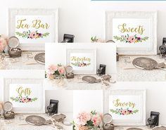 Printable Floral Gold Wedding Signs Bundle, 5x7, wedding reception food signs, Tea Bar sign, gifts sign, sweets, refreshers, savory , WB14 by OccasionHouse on Etsy