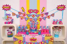 Superhero Girl Birthday Party Package Collection Set by LeeLaaLoo