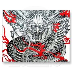 Cool Japanese Dragon Tattoo Art Postcards | Zazzle.co.uk