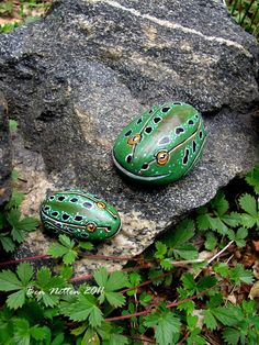 Painting Frogs On Rocks | Original Hand Painted Small Frog Rock Acrylic Animal Pet Art Painting