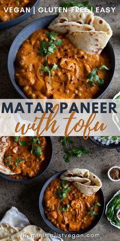 Tofu Curry, Vegetarian Curry, Vegan Curry, Vegan Junk Food, Vegan Comfort Food, Healthy Indian Recipes, Delicious Vegan Recipes, Vegan Tomato Recipe, Dinner Entrees