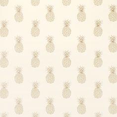 Pineapple Print Pewter Wallpaper at Laura Ashley