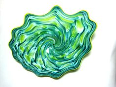 Hand Blown Glass Art Platter Bowl Wall Hanging 62 | eBay