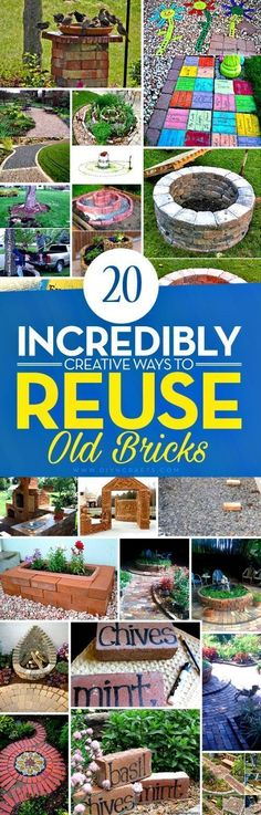 20 Incredibly Creative Ways To Reuse Old Bricks - Whether Youve Got A Handful Of Bricks Or An Entire House Worth, There Is A Great Diy Project Just Waiting To Put Them To Use. Ive Found A Great Collection Of 20 Incredible Diy Projects That Use Bricks, And Diy Garden Projects, Outdoor Projects, Recycling Projects, Garden Ideas, Outdoor Crafts, Garden Crafts, Garden Art, Concrete Projects, House Projects