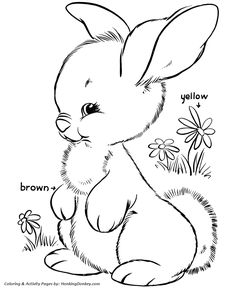 Easter Bunny Coloring Pages - Fluffy Easter Bunny