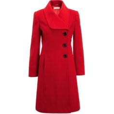 John Lewis Stitch Detail Coat, Red ($270) ❤ liked on Polyvore