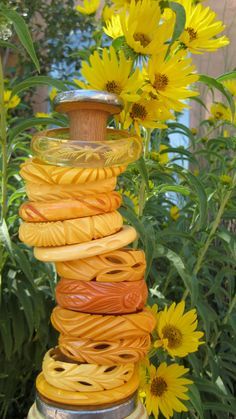 Stack of Bakelite bangles, apple juice, creamed corn, butterscotch and every shade in between. :-)